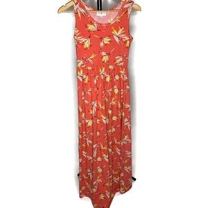 Anthropologie Thyme & Honey Pink Floral Maxi Dress